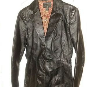 GEORGE BLACK LEATHER BLAZER
